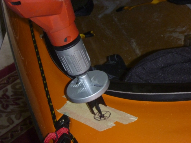 Drill hole for outlet
