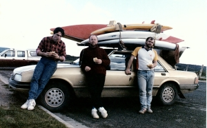 Late 1980's. Bells Beach Victoria. 1 car 3 skis 3 white water kayaks