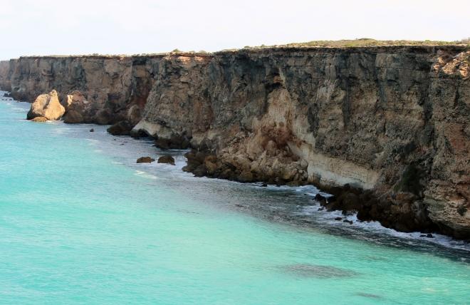 Clear calm waters along the Bunda Cliffs