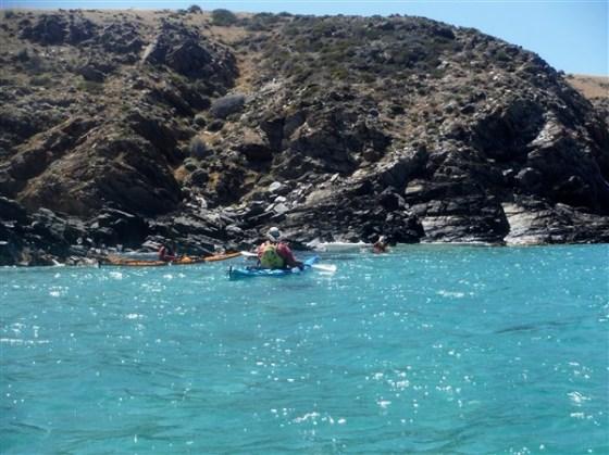 Inspecting the rocky coastline